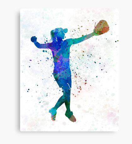 woman playing softball 02 Canvas Print