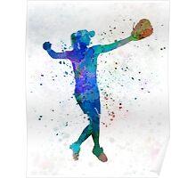 woman playing softball 02 Poster