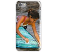Woman Waxing a Surfboard iPhone Case/Skin