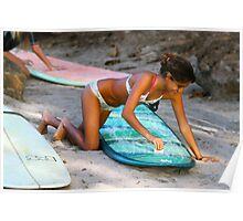 Woman Waxing a Surfboard Poster