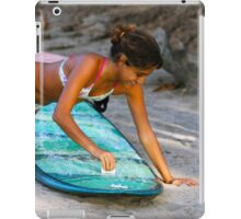 Woman Waxing a Surfboard iPad Case/Skin
