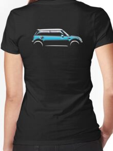 MINI, CAR, BLUE, BMW, BRITISH ICON, BRITAIN, UK, MOTORCAR Women's Fitted V-Neck T-Shirt