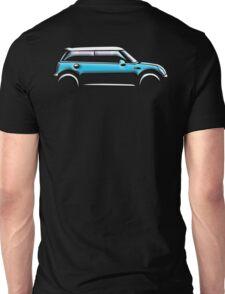 MINI, CAR, BLUE, BMW, BRITISH ICON, BRITAIN, UK, MOTORCAR Unisex T-Shirt