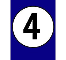 4, Fourth, Number Four, Number 4, Racing, Four, Competition, on Navy Blue Photographic Print