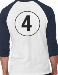 4, Fourth, Number Four, Number 4, Racing, Four, Competition, on Navy Blue Men's Baseball ¾ T-Shirt