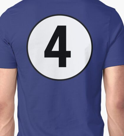4, Fourth, Number Four, Number 4, Old School, Racing, Four, Competition, on Navy Blue Unisex T-Shirt