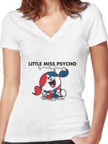 Little Miss  Psycho Women's Fitted V-Neck T-Shirt
