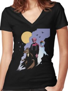 Mike Mignola style Count Chocula, Franken Berry, and Boo-Berry Women's Fitted V-Neck T-Shirt