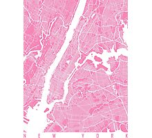 New York map pink Photographic Print