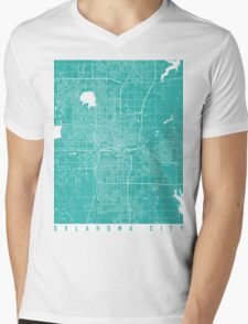 Oklahoma City map turquoise Mens V-Neck T-Shirt