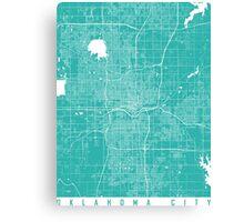 Oklahoma City map turquoise Canvas Print
