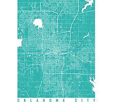 Oklahoma City map turquoise Photographic Print