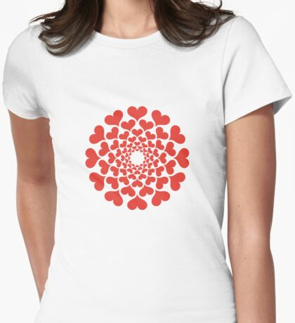 abstract red heart flower Womens Fitted T-Shirt