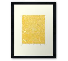 Raleigh map yellow Framed Print
