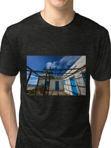 Traditional white house with pergola Tri-blend T-Shirt