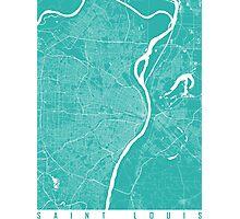 Saint Louis map turquoise Photographic Print