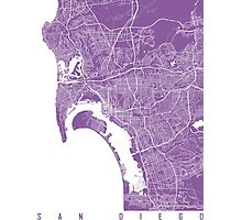 San Diego map lilac Photographic Print