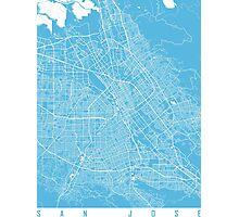 San Jose map blue Photographic Print