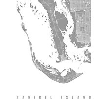 Sanibel island map grey Photographic Print