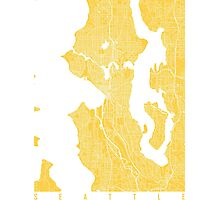 Seattle map Yellow Photographic Print