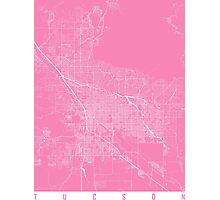 Tucson map pink Photographic Print