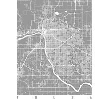 Tulsa map grey Photographic Print