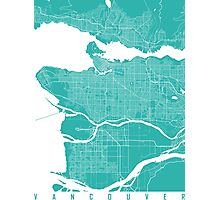 Vancouver map turquoise Photographic Print