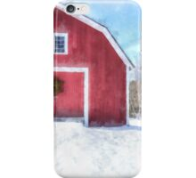 Traditional New England Red Barn in Winter iPhone Case/Skin