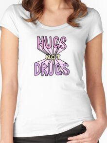 HUGS NOT DRUGS Women's Fitted Scoop T-Shirt
