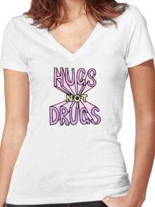 HUGS NOT DRUGS Women's Fitted V-Neck T-Shirt