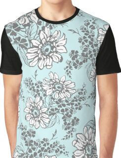 Sky Blue Grey Floral Pattern Graphic T-Shirt