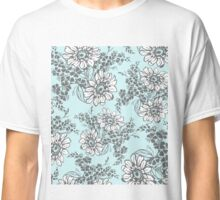 Sky Blue Grey Floral Pattern Classic T-Shirt