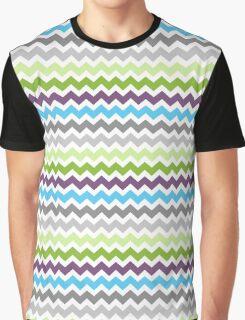 Lime Purple Blue Chevron Pattern Graphic T-Shirt