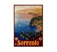 Italy Sorrento Bay of Naples vintage Italian travel advert Art Print