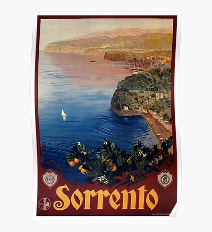 Italy Sorrento Bay of Naples vintage Italian travel advert Poster