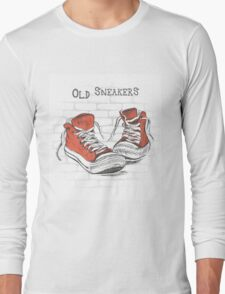 Vintage Sneakers Hand Drawn Long Sleeve T-Shirt