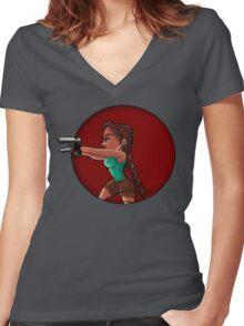 Tomb Raider- Lara Croft Women's Fitted V-Neck T-Shirt