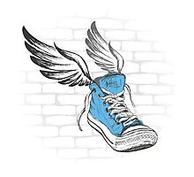 Vintage Sneakers with wings, hand drawing Photographic Print