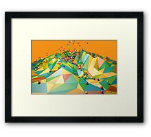 Low Polygon Landscape with Balls Framed Print