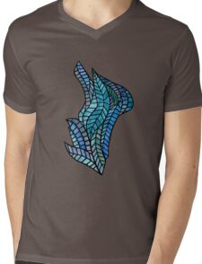 Blue Geometric Mosaic Mens V-Neck T-Shirt