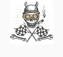 Motorcycle bike label with skul,l flames and flag Unisex T-Shirt