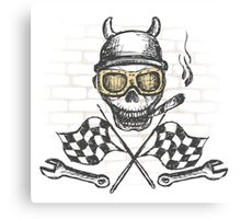 Motorcycle bike label with skul,l flames and flag Canvas Print