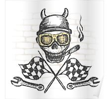 Motorcycle bike label with skul,l flames and flag Poster