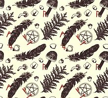 Pagan print - black and red on cream by joellis