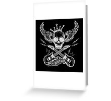 Rock and roll skull guitar on black Greeting Card