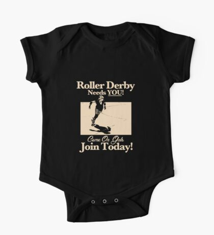 Roller Girl Recruitment Poster (Vintage Black) One Piece - Short Sleeve