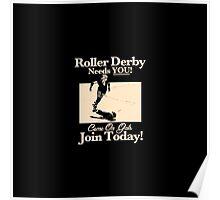 Roller Girl Recruitment Poster (Vintage Black) Poster