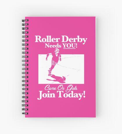 Roller Girl Recruitment Poster (Hot Pink) Spiral Notebook