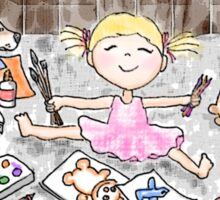 Bloomin' Artist Watercolor Illustration for Kids Sticker