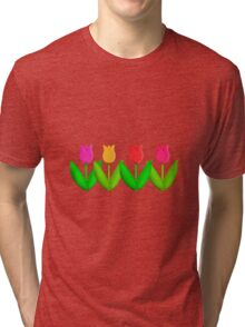 Spring Flowers Tulips in a Row Tri-blend T-Shirt